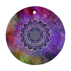 Flower Of Life Indian Ornaments Mandala Universe Ornament (round)  by EDDArt
