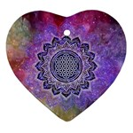 Flower Of Life Indian Ornaments Mandala Universe Ornament (Heart)