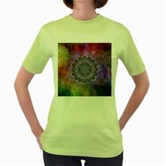 Flower Of Life Indian Ornaments Mandala Universe Women s Green T Shirt by EDDArt