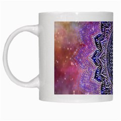 Flower Of Life Indian Ornaments Mandala Universe White Mugs by EDDArt