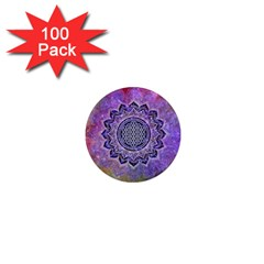 Flower Of Life Indian Ornaments Mandala Universe 1  Mini Magnets (100 Pack)  by EDDArt