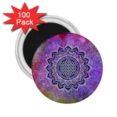 Flower Of Life Indian Ornaments Mandala Universe 2 25  Magnets (100 Pack)  by EDDArt