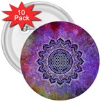 Flower Of Life Indian Ornaments Mandala Universe 3  Buttons (10 pack)