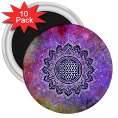Flower Of Life Indian Ornaments Mandala Universe 3  Magnets (10 Pack)  by EDDArt