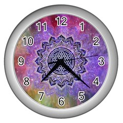 Flower Of Life Indian Ornaments Mandala Universe Wall Clocks (silver)  by EDDArt