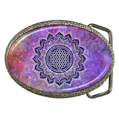 Flower Of Life Indian Ornaments Mandala Universe Belt Buckles by EDDArt