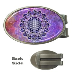 Flower Of Life Indian Ornaments Mandala Universe Money Clips (oval)  by EDDArt