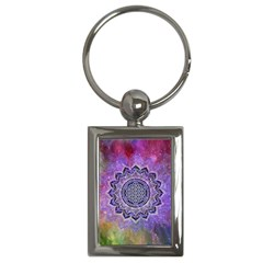 Flower Of Life Indian Ornaments Mandala Universe Key Chains (rectangle)  by EDDArt