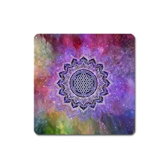 Flower Of Life Indian Ornaments Mandala Universe Square Magnet by EDDArt