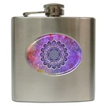 Flower Of Life Indian Ornaments Mandala Universe Hip Flask (6 oz)