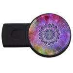 Flower Of Life Indian Ornaments Mandala Universe USB Flash Drive Round (2 GB)