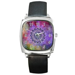 Flower Of Life Indian Ornaments Mandala Universe Square Metal Watch by EDDArt