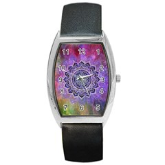 Flower Of Life Indian Ornaments Mandala Universe Barrel Style Metal Watch by EDDArt