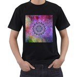 Flower Of Life Indian Ornaments Mandala Universe Men s T-Shirt (Black) (Two Sided)