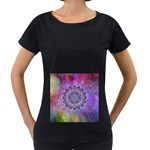 Flower Of Life Indian Ornaments Mandala Universe Women s Loose-Fit T-Shirt (Black)