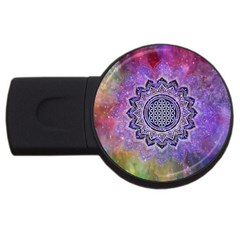 Flower Of Life Indian Ornaments Mandala Universe Usb Flash Drive Round (4 Gb)  by EDDArt