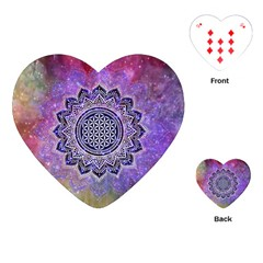 Flower Of Life Indian Ornaments Mandala Universe Playing Cards (heart)  by EDDArt