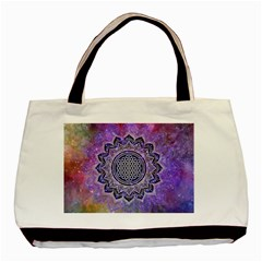 Flower Of Life Indian Ornaments Mandala Universe Basic Tote Bag by EDDArt