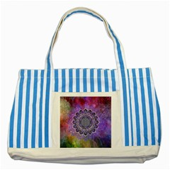Flower Of Life Indian Ornaments Mandala Universe Striped Blue Tote Bag by EDDArt