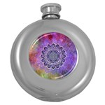 Flower Of Life Indian Ornaments Mandala Universe Round Hip Flask (5 oz)