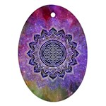 Flower Of Life Indian Ornaments Mandala Universe Oval Ornament (Two Sides)