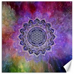 Flower Of Life Indian Ornaments Mandala Universe Canvas 12  X 12   by EDDArt