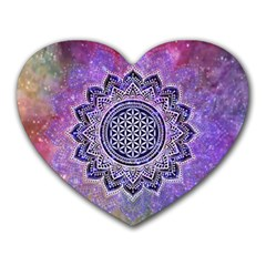 Flower Of Life Indian Ornaments Mandala Universe Heart Mousepads by EDDArt
