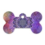 Flower Of Life Indian Ornaments Mandala Universe Dog Tag Bone (Two Sides)