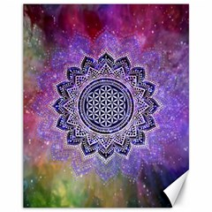 Flower Of Life Indian Ornaments Mandala Universe Canvas 11  X 14   by EDDArt