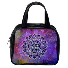 Flower Of Life Indian Ornaments Mandala Universe Classic Handbags (one Side) by EDDArt