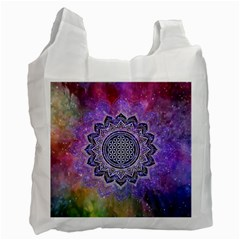 Flower Of Life Indian Ornaments Mandala Universe Recycle Bag (one Side) by EDDArt