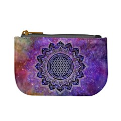 Flower Of Life Indian Ornaments Mandala Universe Mini Coin Purses by EDDArt