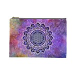 Flower Of Life Indian Ornaments Mandala Universe Cosmetic Bag (Large)