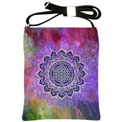 Flower Of Life Indian Ornaments Mandala Universe Shoulder Sling Bags by EDDArt