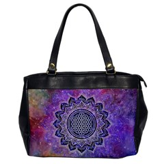 Flower Of Life Indian Ornaments Mandala Universe Office Handbags by EDDArt