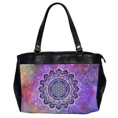 Flower Of Life Indian Ornaments Mandala Universe Office Handbags (2 Sides)  by EDDArt