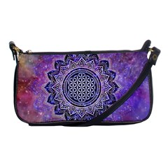 Flower Of Life Indian Ornaments Mandala Universe Shoulder Clutch Bags by EDDArt