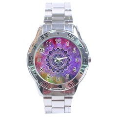 Flower Of Life Indian Ornaments Mandala Universe Stainless Steel Analogue Watch by EDDArt