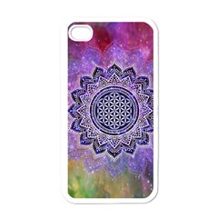 Flower Of Life Indian Ornaments Mandala Universe Apple Iphone 4 Case (white) by EDDArt