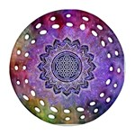 Flower Of Life Indian Ornaments Mandala Universe Round Filigree Ornament (2Side)