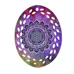 Flower Of Life Indian Ornaments Mandala Universe Oval Filigree Ornament (2-Side)