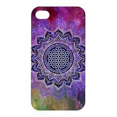 Flower Of Life Indian Ornaments Mandala Universe Apple Iphone 4/4s Hardshell Case by EDDArt