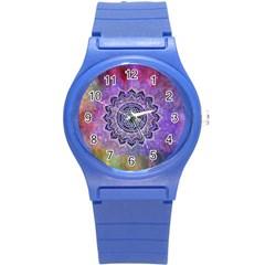 Flower Of Life Indian Ornaments Mandala Universe Round Plastic Sport Watch (s) by EDDArt