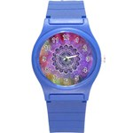 Flower Of Life Indian Ornaments Mandala Universe Round Plastic Sport Watch (S)