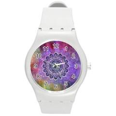 Flower Of Life Indian Ornaments Mandala Universe Round Plastic Sport Watch (m) by EDDArt