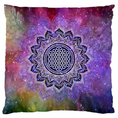 Flower Of Life Indian Ornaments Mandala Universe Large Cushion Case (one Side) by EDDArt