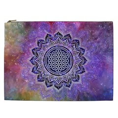 Flower Of Life Indian Ornaments Mandala Universe Cosmetic Bag (xxl)  by EDDArt