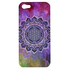 Flower Of Life Indian Ornaments Mandala Universe Apple Iphone 5 Hardshell Case by EDDArt