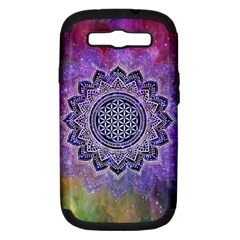 Flower Of Life Indian Ornaments Mandala Universe Samsung Galaxy S Iii Hardshell Case (pc+silicone) by EDDArt