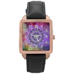 Flower Of Life Indian Ornaments Mandala Universe Rose Gold Leather Watch
